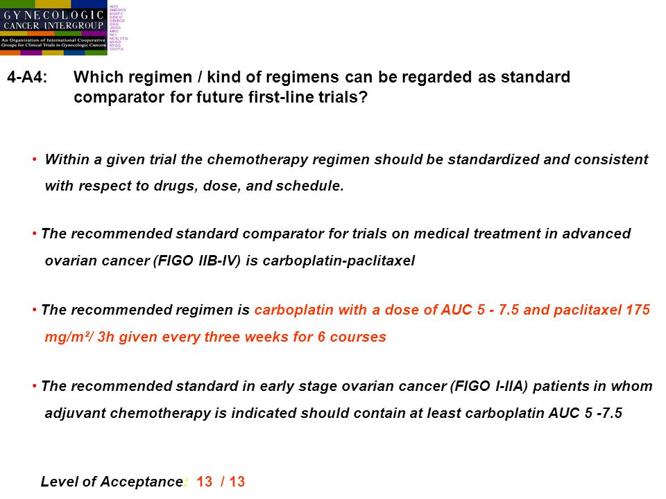 4-A4:Which regimen / kind of regimens can be regarded as standard comparator for future first-line trials.