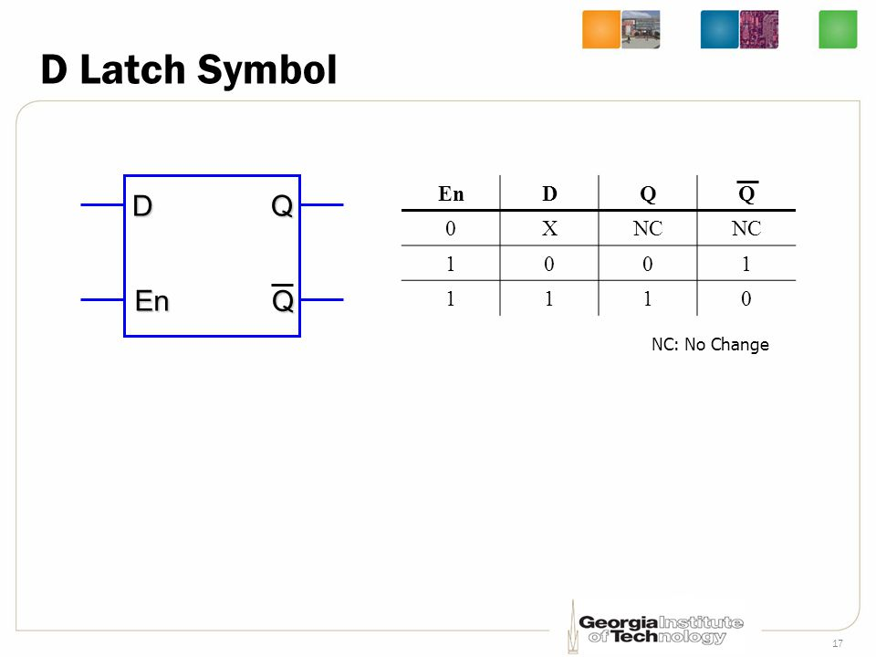 17 D Latch Symbol D En QQ EnDQQ 0XNC 1001 1110 NC: No Change