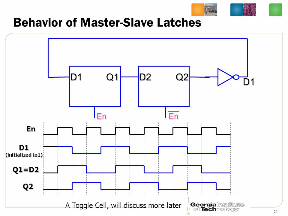 24 Behavior of Master-Slave Latches En D1Q1 En D2Q2 En D1 (initialized to1) D1 Q1=D2 Q2 A Toggle Cell, will discuss more later