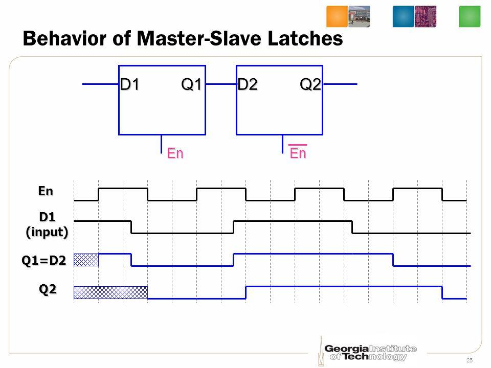 25 Behavior of Master-Slave Latches En D1Q1 En D2Q2 En D1(input) Q1=D2 Q2