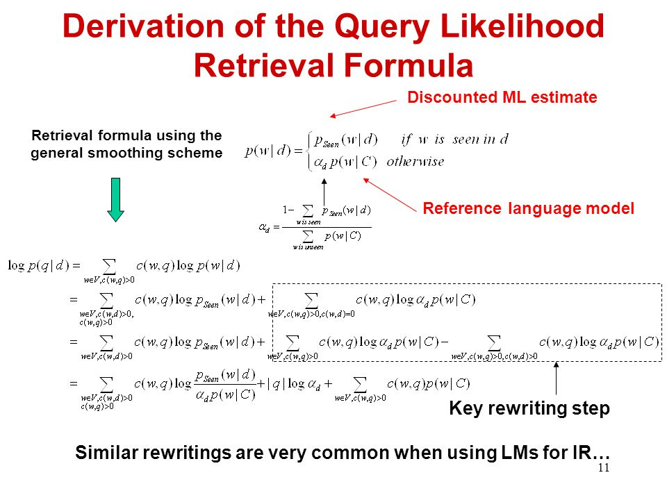11 Derivation of the Query Likelihood Retrieval Formula Discounted ML estimate Reference language model Retrieval formula using the general smoothing scheme Key rewriting step Similar rewritings are very common when using LMs for IR…