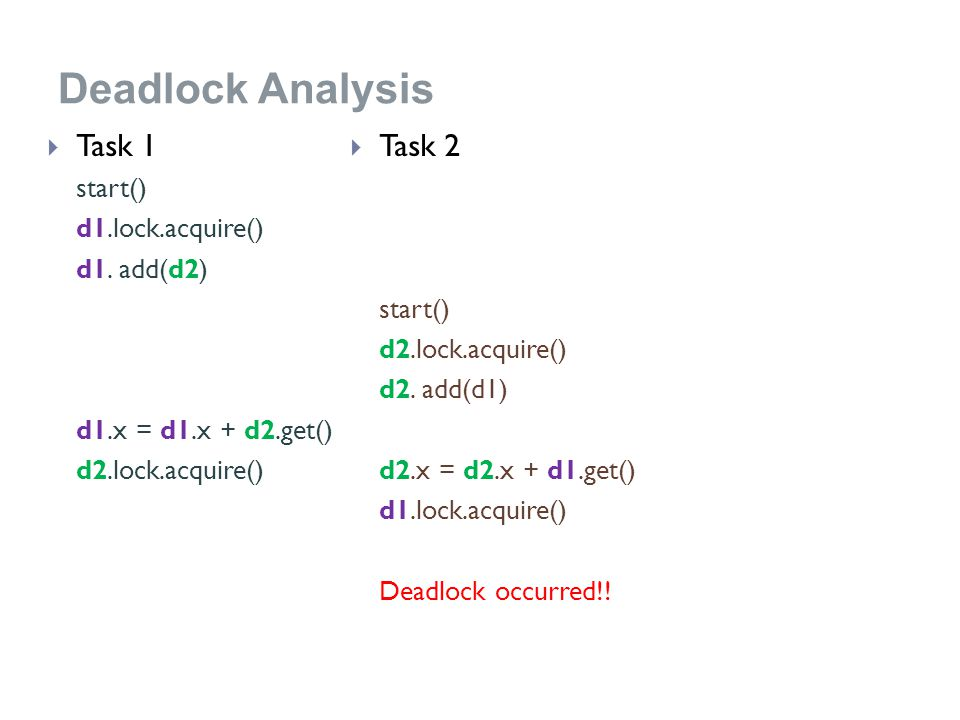 Deadlock Analysis  Task 1 start() d1.lock.acquire() d1.