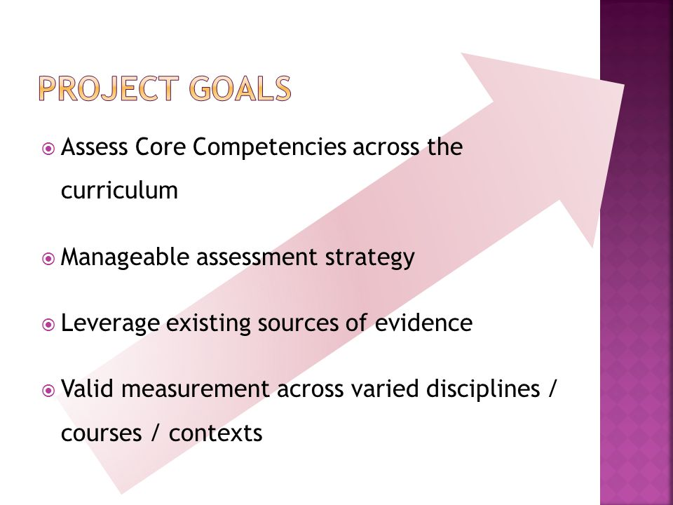  Assess Core Competencies across the curriculum  Manageable assessment strategy  Leverage existing sources of evidence  Valid measurement across varied disciplines / courses / contexts