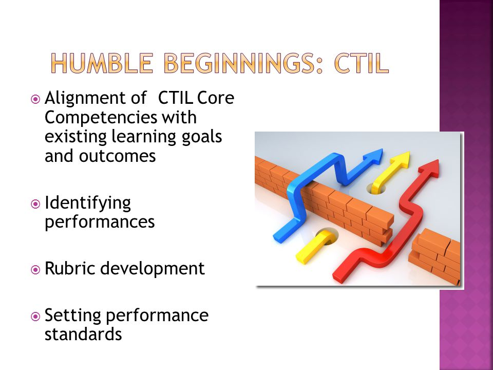 Alignment of CTIL Core Competencies with existing learning goals and outcomes  Identifying performances  Rubric development  Setting performance standards