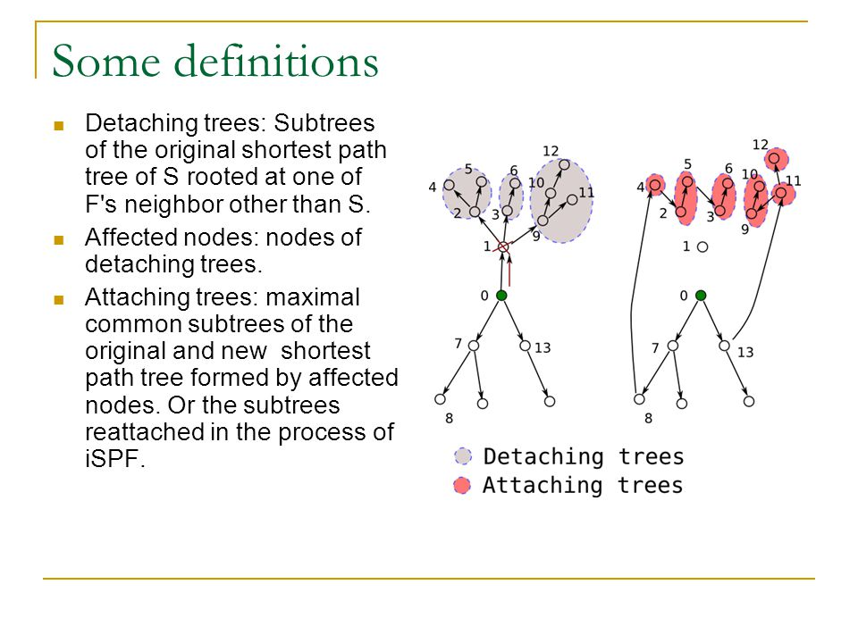 Some definitions Detaching trees: Subtrees of the original shortest path tree of S rooted at one of F's neighbor other than S. Affected nodes: nodes o
