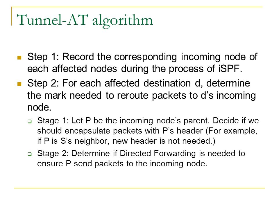 Tunnel-AT algorithm Step 1: Record the corresponding incoming node of each affected nodes during the process of iSPF. Step 2: For each affected destin