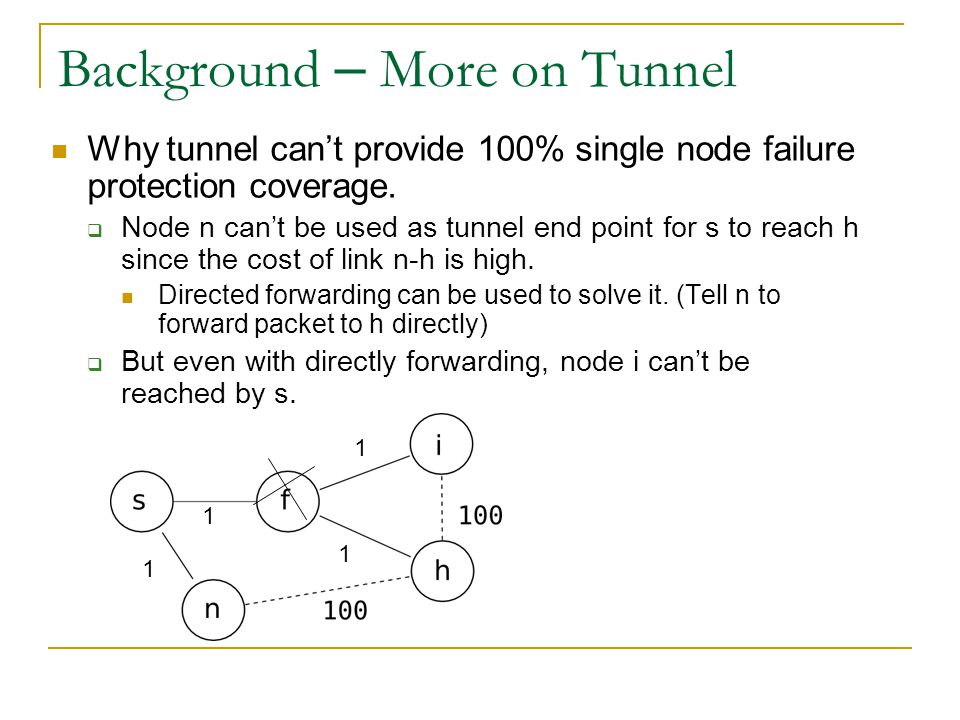 Background – More on Tunnel Why tunnel can't provide 100% single node failure protection coverage.  Node n can't be used as tunnel end point for s to