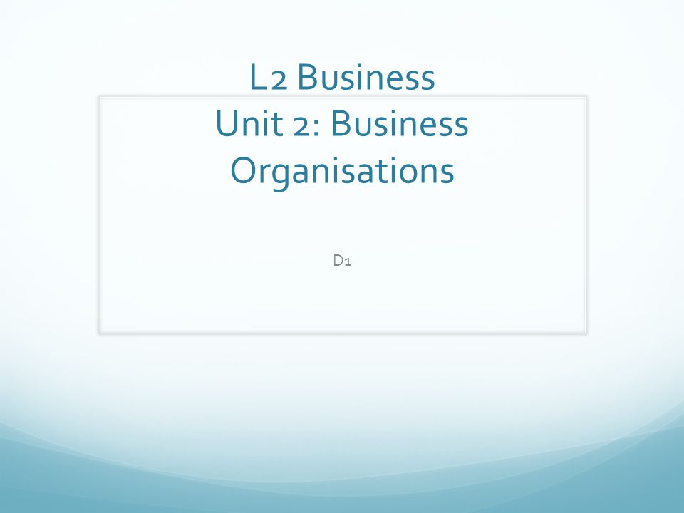 L2 Business Unit 2: Business Organisations D1