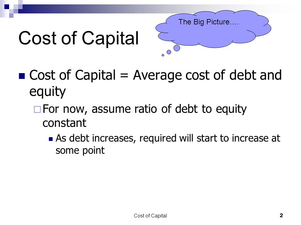 Cost of Capital13 Cost of Equity Capital Asset Pricing Model (CAPM) RR = RF + (RM – RF) X Beta  Advantages Adjusts for risk Can be used for companies with no dividends