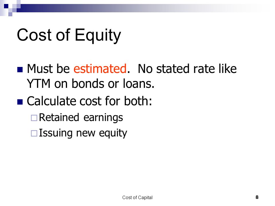 Cost of Capital19 WACC Value of firm maximized when WACC is minimized Should reduce Required Return  This would increase NPV of projects WACC is not Required Return for all projects  Adjust Required Return based on risk of project  If use WACC for all projects, will accept risky projects and decline safe projects Since safe projects will generally have low IRR