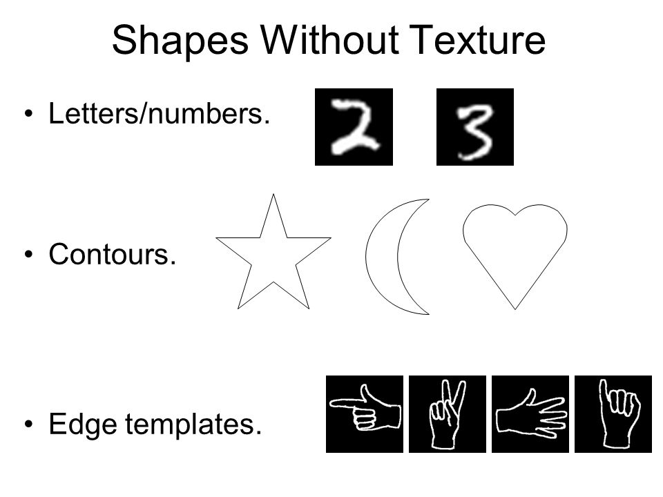 Shapes Without Texture Letters/numbers. Contours. Edge templates.