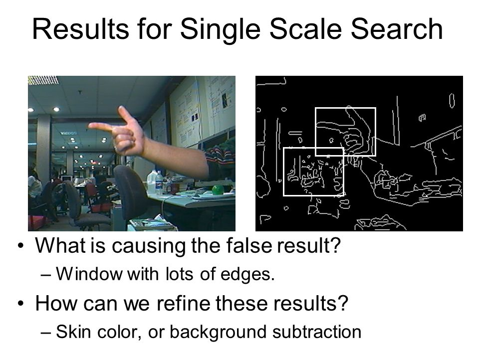 Results for Single Scale Search What is causing the false result? –Window with lots of edges. How can we refine these results? –Skin color, or backgro