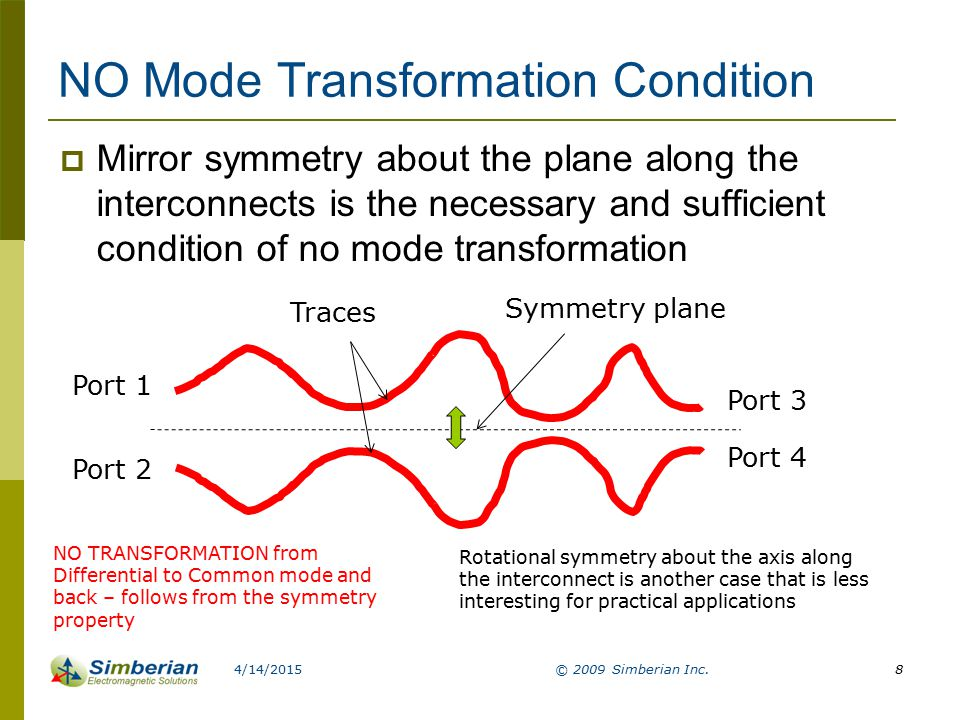 Typical interconnect elements that cause mode transformations  All share one property – no symmetry of type discussed above 4/14/2015© 2009 Simberian Inc.9 Can be simulated locally: May require board-level simulation to capture common mode behavior (hybrid or full-wave): Bypass or length equalization elements as shown: Bends (single and dual): Non-symmetrical break- out from vias: With stitching vias between all reference planes of the connected lines – can be simulated locally (conditional on the distance between vias)