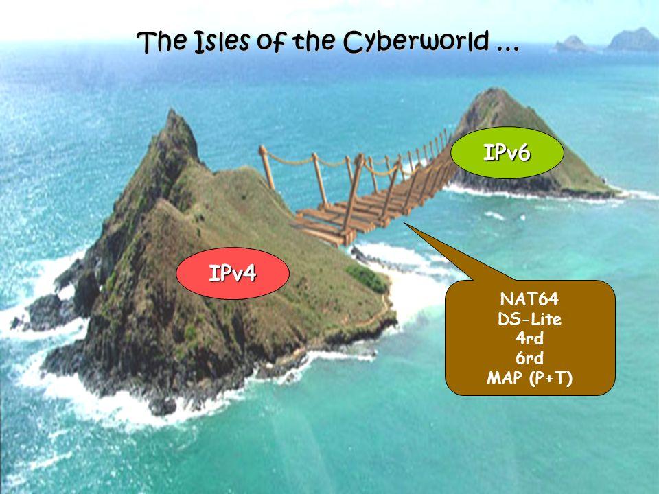 The Isles of the Cyberworld … IPv4 IPv6 NAT64 DS-Lite 4rd 6rd MAP (P+T)