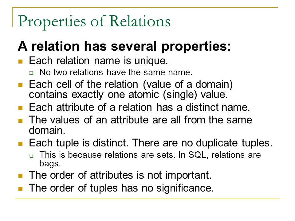 Properties of Relations A relation has several properties: Each relation name is unique.