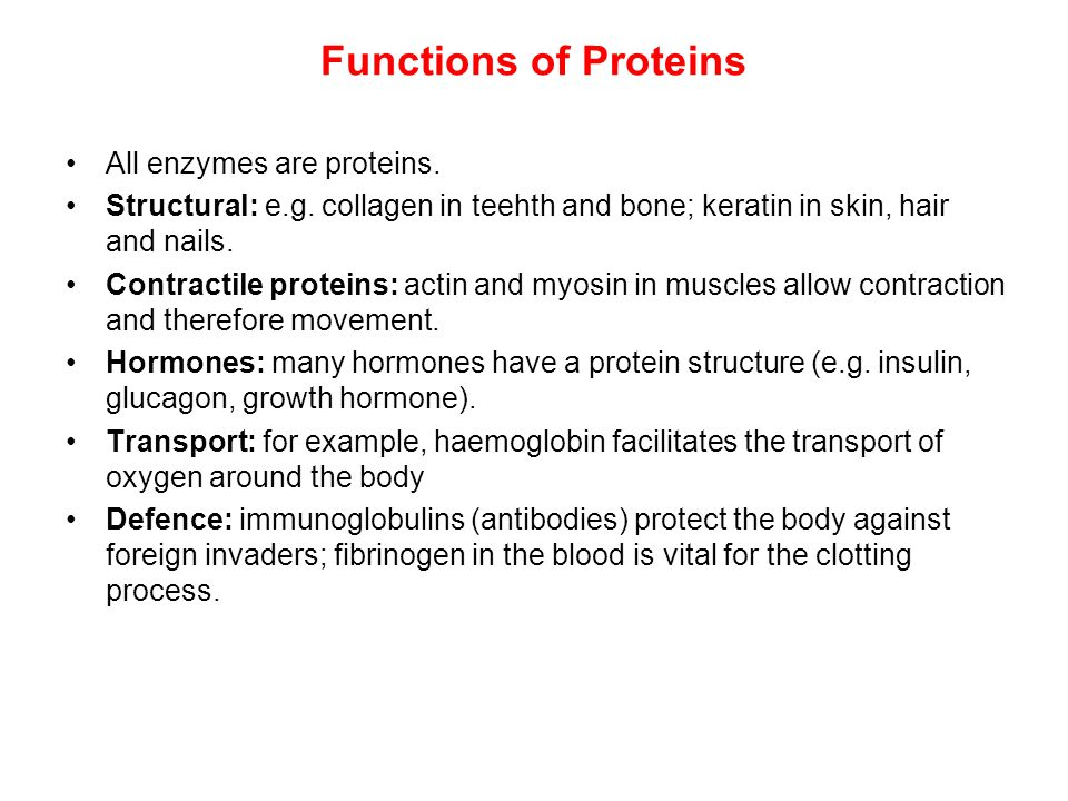 Functions of Proteins All enzymes are proteins. Structural: e.g. collagen in teehth and bone; keratin in skin, hair and nails. Contractile proteins: a