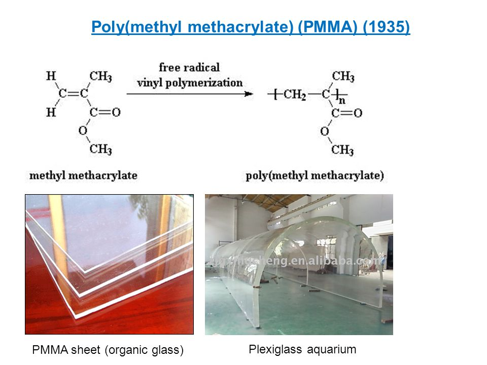 Poly(methyl methacrylate) (PMMA) (1935) PMMA sheet (organic glass) Plexiglass aquarium