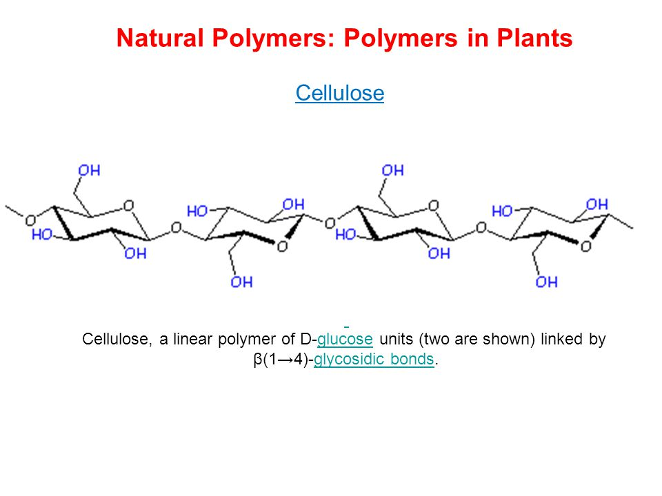 Cellulose Cellulose, a linear polymer of D-glucose units (two are shown) linked byglucose β(1→4)-glycosidic bonds.glycosidic bonds Natural Polymers: P