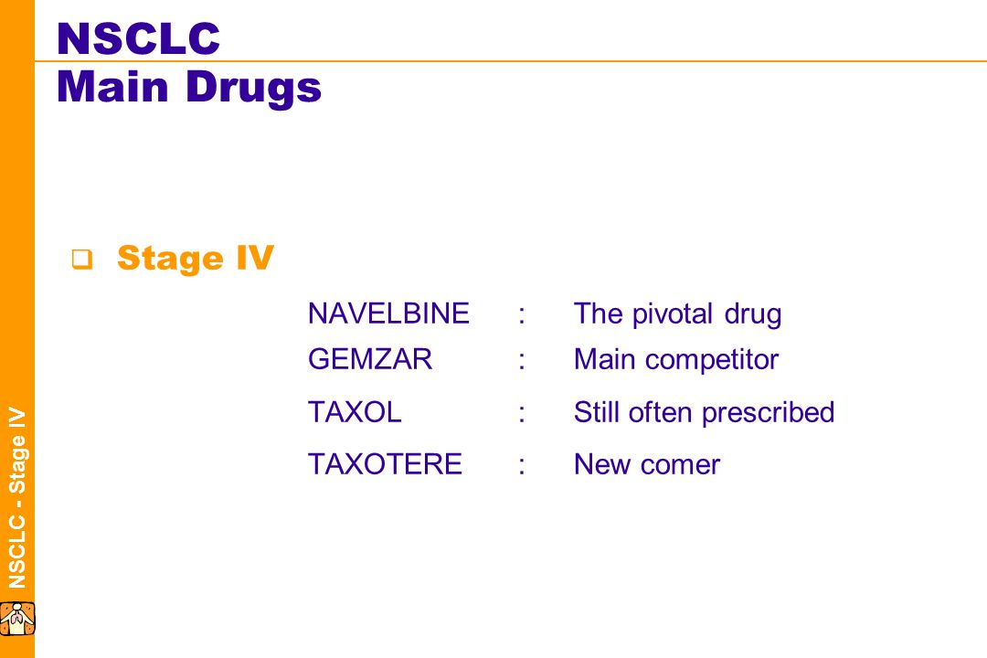 NSCLC - Stage IV NSCLC Main Drugs  Stage IV NAVELBINE:The pivotal drug GEMZAR:Main competitor TAXOL:Still often prescribed TAXOTERE:New comer