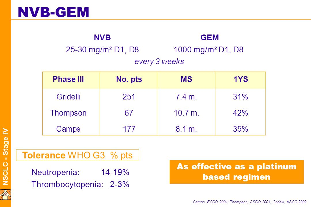 NSCLC - Stage IV NVB-GEM NVB GEM 25-30 mg/m² D1, D81000 mg/m² D1, D8 every 3 weeks Camps, ECCO 2001; Thompson, ASCO 2001; Gridelli, ASCO 2002 Tolerance WHO G3 % pts Neutropenia:14-19% Thrombocytopenia:2-3% Phase III No.