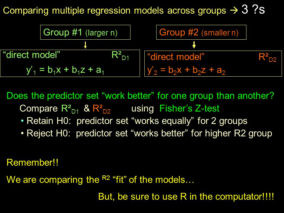 Group #1 (larger n) direct model R² D1 y' 1 = b 1 x + b 1 z + a 1 direct model R² D2 y' 2 = b 2 x + b 2 z + a 2 Group #2 (smaller n) Comparing multiple regression models across groups  3 s Does the predictor set work better for one group than another.