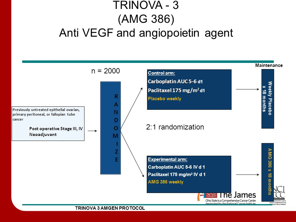 TRINOVA - 3 (AMG 386) Anti VEGF and angiopoietin agent TRINOVA 3 AMGEN PROTOCOL Previously untreated epithelial ovarian, primary peritoneal, or fallopian tube cancer Post operative Stage III, IV Post operative Stage III, IV Neoadjuvant Neoadjuvant RANDOMIZERANDOMIZE Experimental arm: Carboplatin AUC 5-6 IV d 1 Paclitaxel 175 mg/m 2 IV d 1 AMG 386 weekly Control arm: Carboplatin AUC 5-6 Carboplatin AUC 5-6 d1 Paclitaxel 175 mg/m 2 Paclitaxel 175 mg/m 2 d1 Placebo weekly n = 2000 Weekly Placebo x 18 months Maintenance AMG 386 x 18 months 2:1 randomization