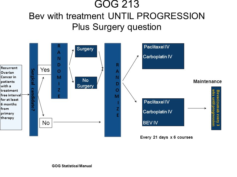 GOG 213 Bev with treatment UNTIL PROGRESSION Plus Surgery question GOG Statistical Manual Recurrent Ovarian Cancer in patients with a treatment free interval for at least 6 months from primary therapy RANDOMIZERANDOMIZE Paclitaxel IV Carboplatin IV Surgery Maintenance Surgical candidate.