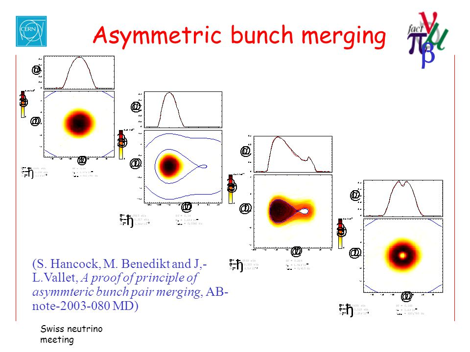  Swiss neutrino meeting Asymmetric bunch merging (S. Hancock, M. Benedikt and J,- L.Vallet, A proof of principle of asymmteric bunch pair merging, AB