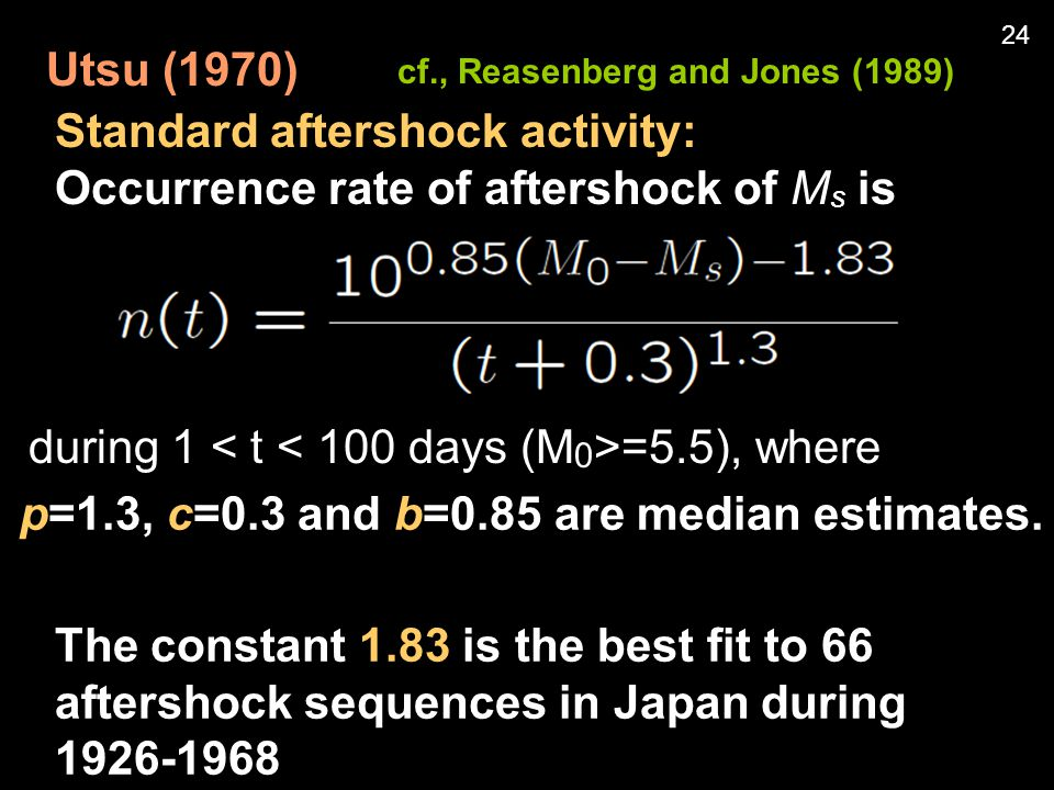 Utsu (1970) Standard aftershock activity: Occurrence rate of aftershock of M s is p=1.3, c=0.3 and b=0.85 are median estimates.