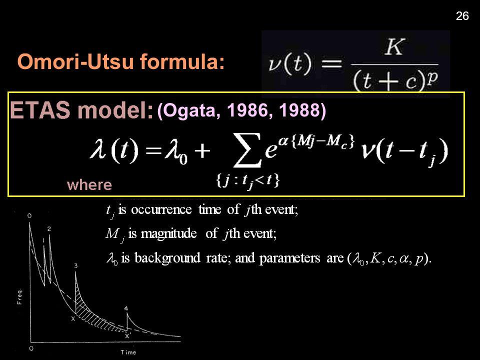 Omori-Utsu formula: 26 (Ogata, 1986, 1988)