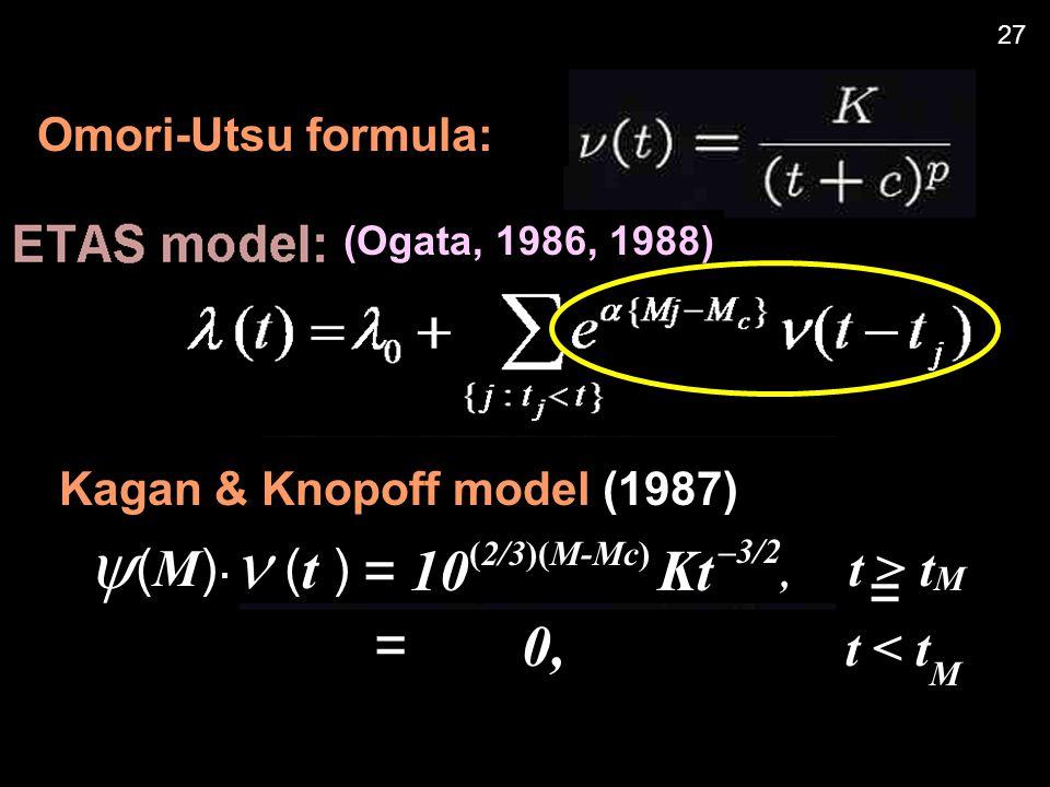 Omori-Utsu formula: Kagan & Knopoff model (1987) = 0, t < t M  ( M ).  ( t ) = 10 (2/3)(M-Mc) Kt –3/2, t > t M = (Ogata, 1986, 1988) 27