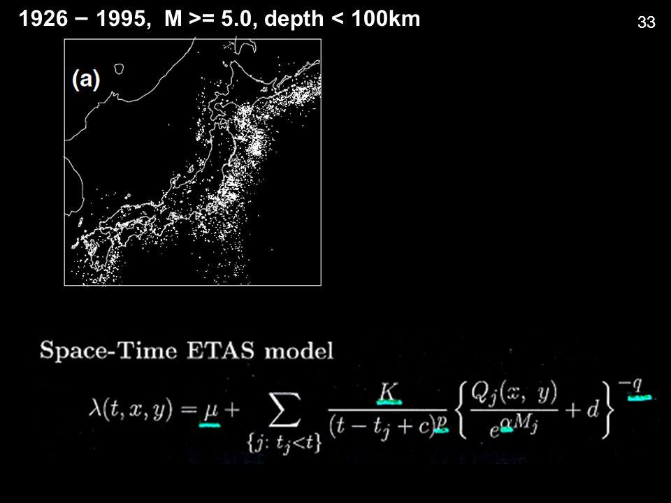 1926 – 1995, M >= 5.0, depth < 100km 33