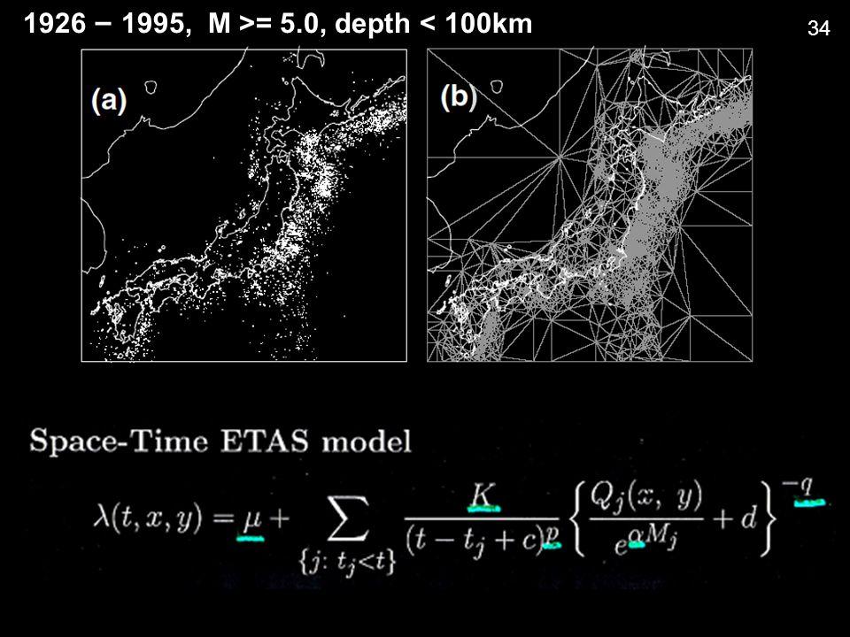 1926 – 1995, M >= 5.0, depth < 100km 34