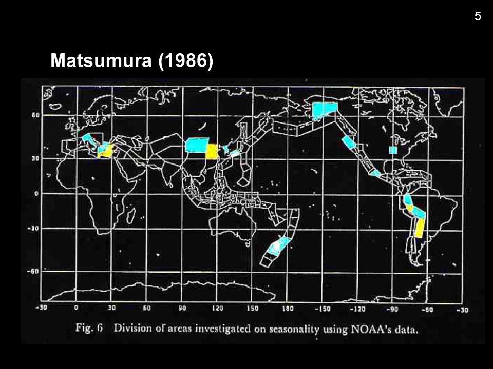 Utsu (1965) b-value estimation Magnitude Frequency: Aki (1965) MLE & Error assesment Utsu (1967) b-value test Utsu (1971, 1978) modified G-R Law Utsu (1978)  -value estimation  = E[(M-M c ) 2 ] / E[M-M c ] 2 6