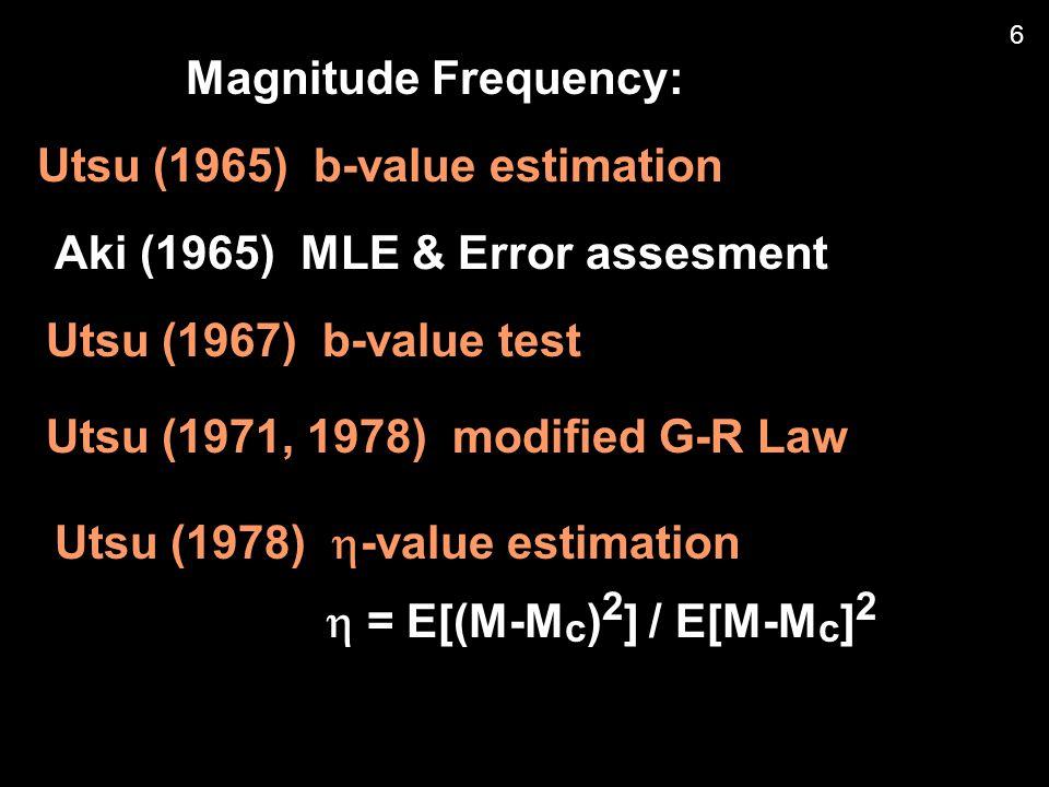 Omori-Utsu formula: Kagan & Knopoff model (1987) = 0, t < 10 a+1.5M j  ( t ) = Kt –3/2, t > 10 a+1.5M j = (Ogata, 1986, 1988) 27