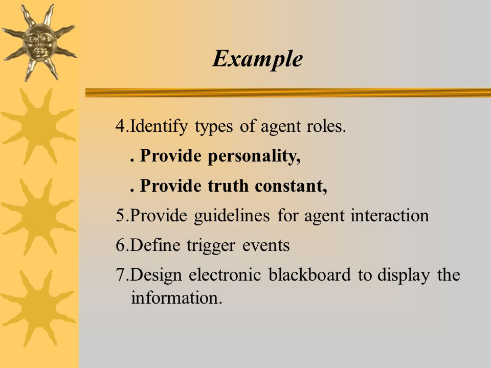 Example 4.Identify types of agent roles..Provide personality,.