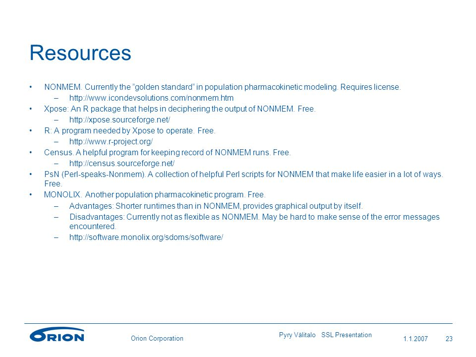 Orion Corporation Resources NONMEM.
