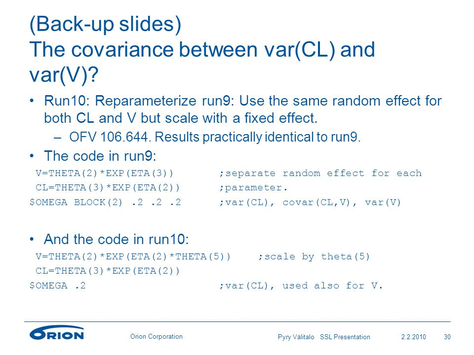 Orion Corporation (Back-up slides) The covariance between var(CL) and var(V).