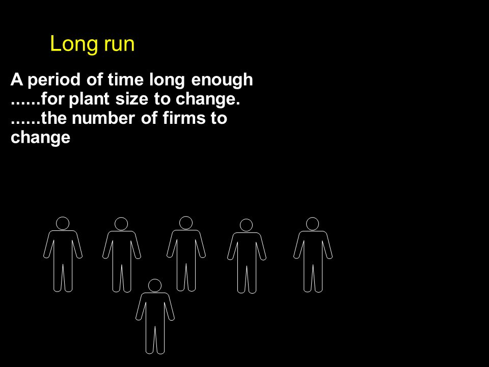 A period of time long enough......for plant size to change.......the number of firms to change Long run