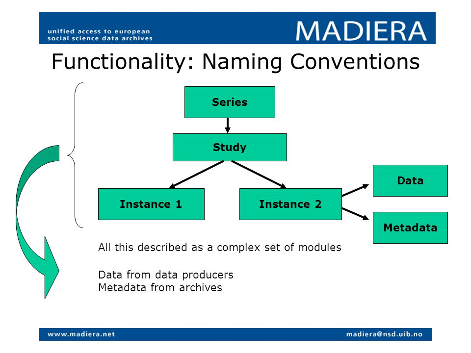 Functionality: Naming Conventions Series Study Instance 1Instance 2 Data Metadata All this described as a complex set of modules Data from data producers Metadata from archives