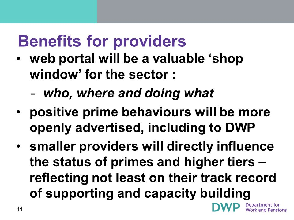 Benefits for providers web portal will be a valuable 'shop window' for the sector : ­who, where and doing what positive prime behaviours will be more