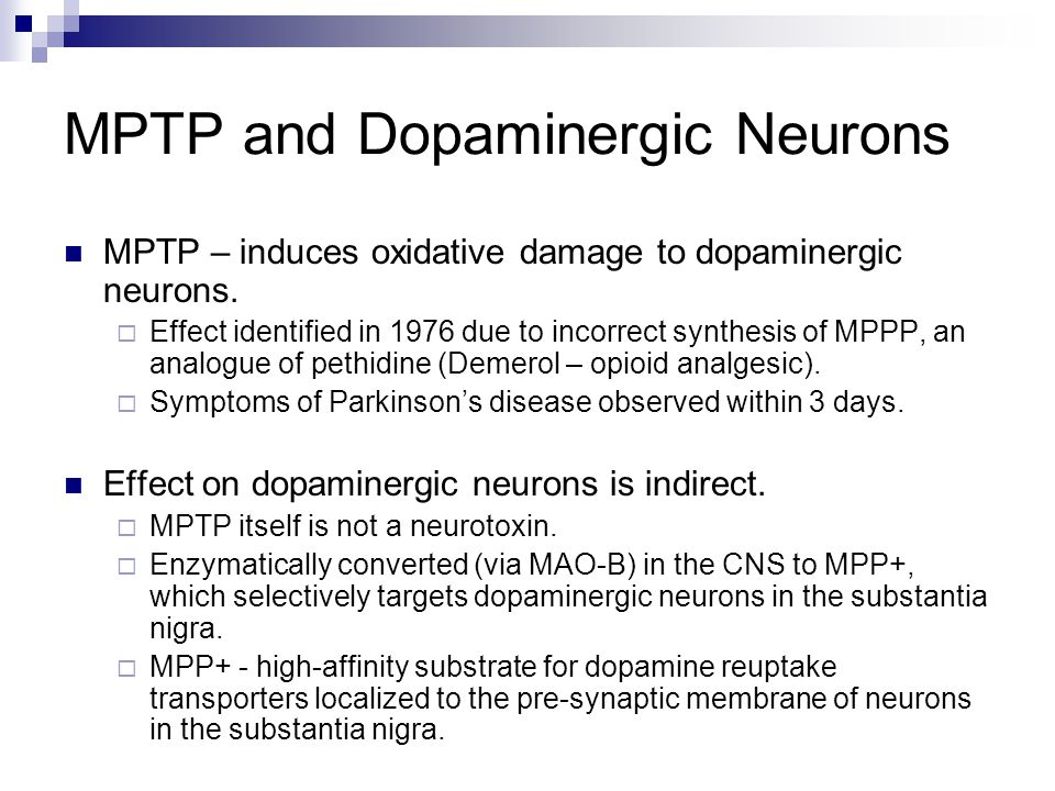 MPTP and Dopaminergic Neurons MPTP – induces oxidative damage to dopaminergic neurons.  Effect identified in 1976 due to incorrect synthesis of MPPP,