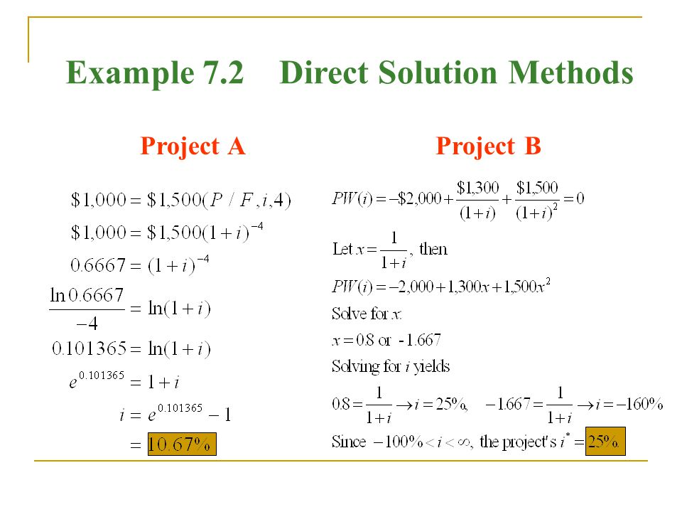 Example 7.2 Direct Solution Methods Project AProject B
