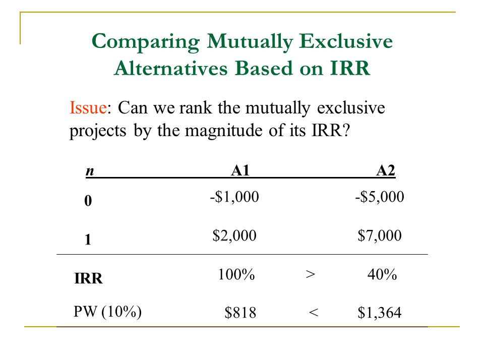 Comparing Mutually Exclusive Alternatives Based on IRR Issue: Can we rank the mutually exclusive projects by the magnitude of its IRR? nA1A2 0 1 IRR -