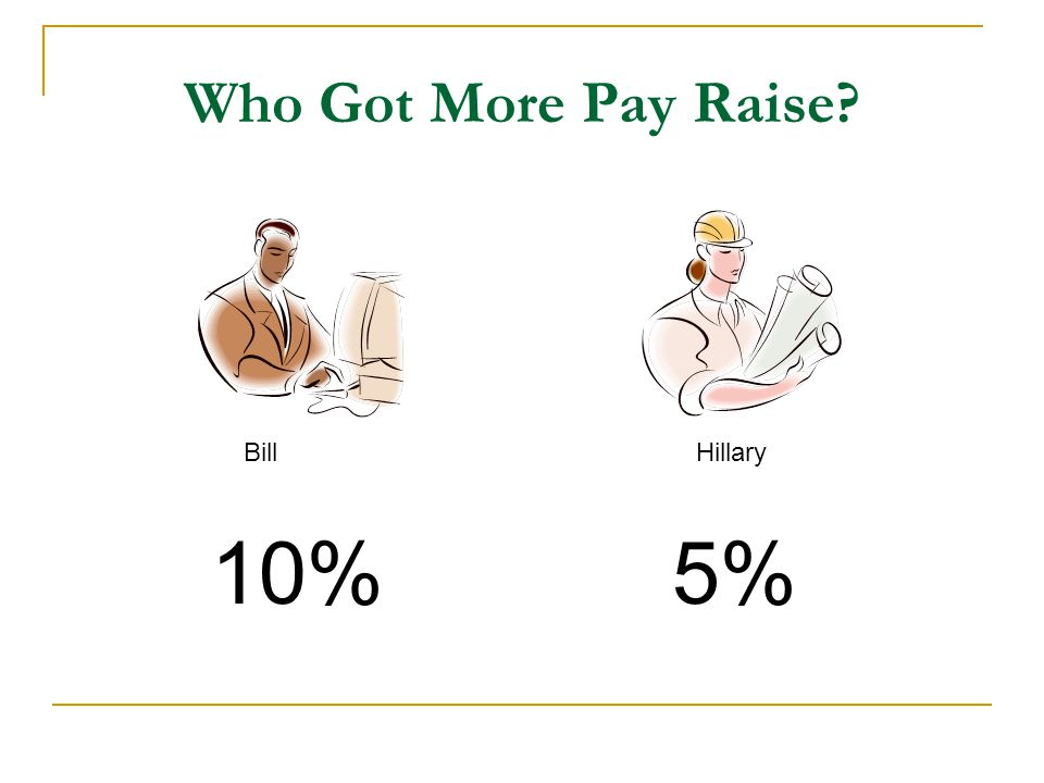 Who Got More Pay Raise? BillHillary 10%5%