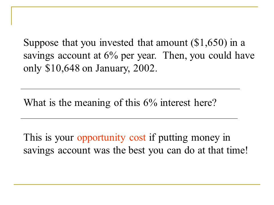 Suppose that you invested that amount ($1,650) in a savings account at 6% per year. Then, you could have only $10,648 on January, 2002. What is the me