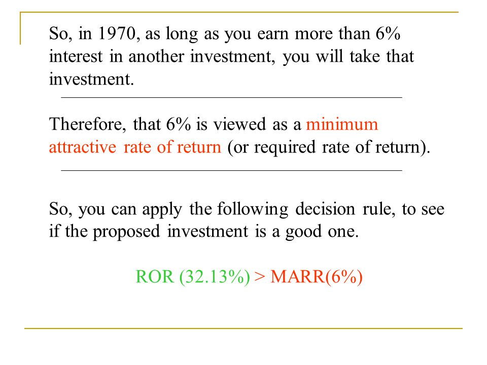 So, in 1970, as long as you earn more than 6% interest in another investment, you will take that investment. Therefore, that 6% is viewed as a minimum