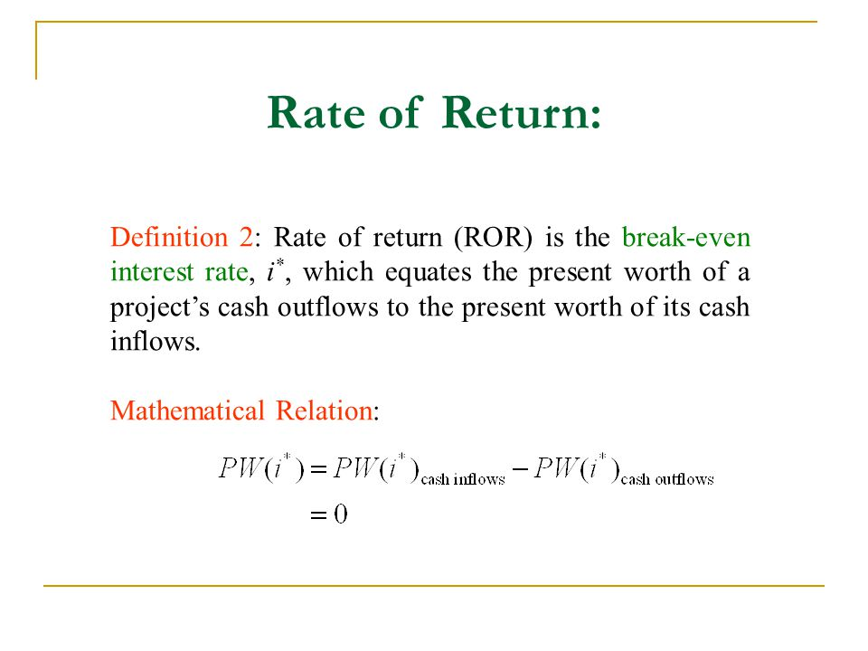 Return on Invested Capital Definition 3: Return on invested capital is defined as the interest rate earned on the unrecovered project balance of an investment project.