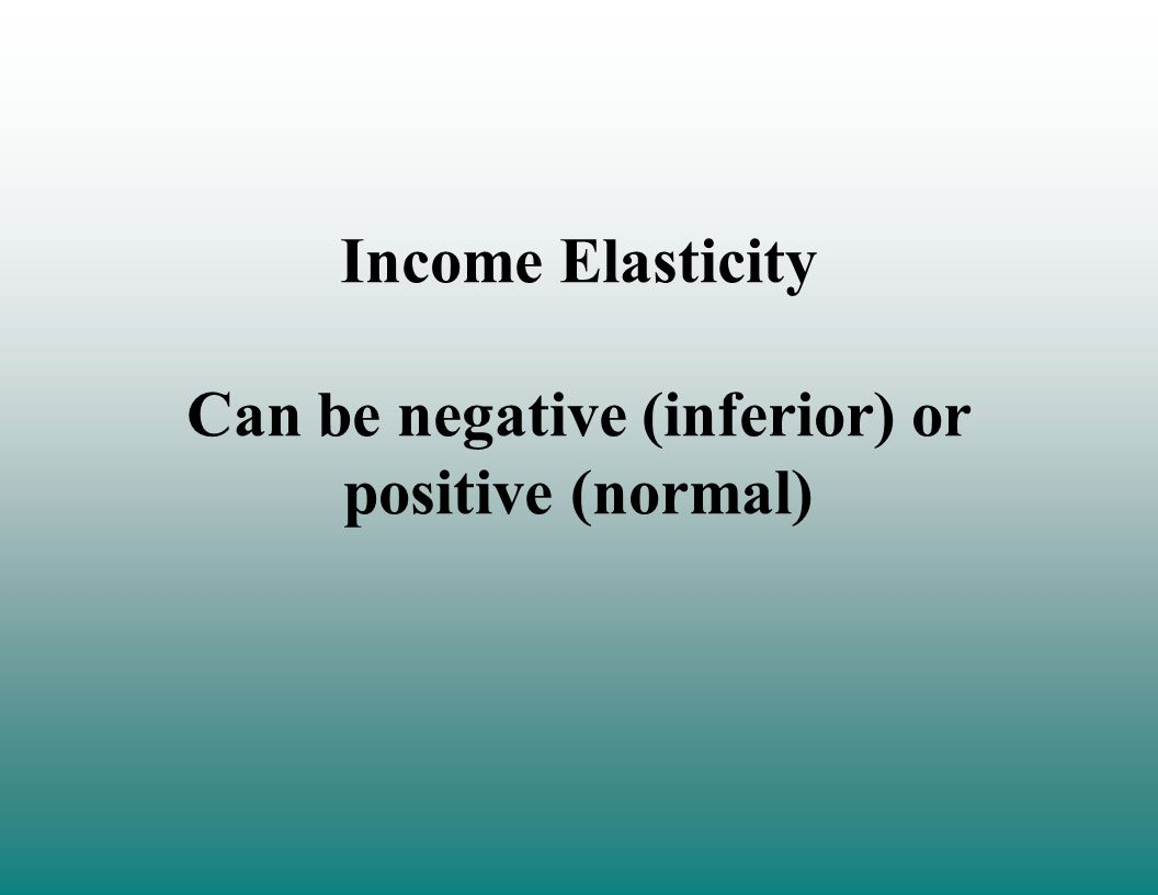 Income Elasticity Can be negative (inferior) or positive (normal)