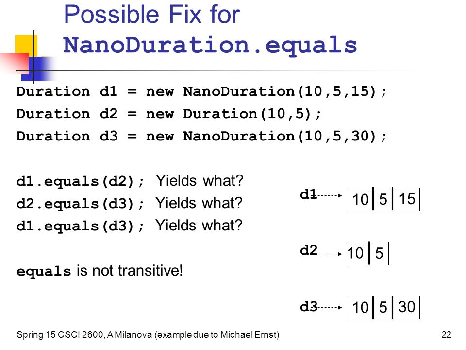 Possible Fix for NanoDuration.equals Duration d1 = new NanoDuration(10,5,15); Duration d2 = new Duration(10,5); Duration d3 = new NanoDuration(10,5,30